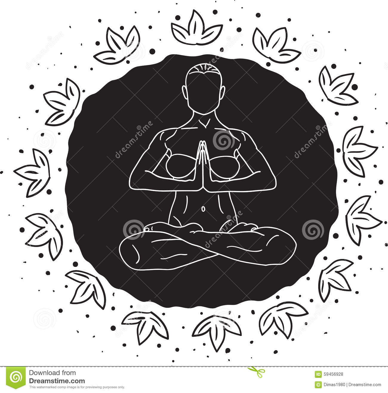 Lotus Pose stock vector. Illustration of lady, line ...