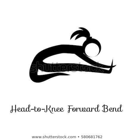 Seated Forward Bend Paschimottanasana Yoga Position Stock ...