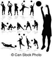 Volleyball female silhouettes in athletic poses. Vector ...