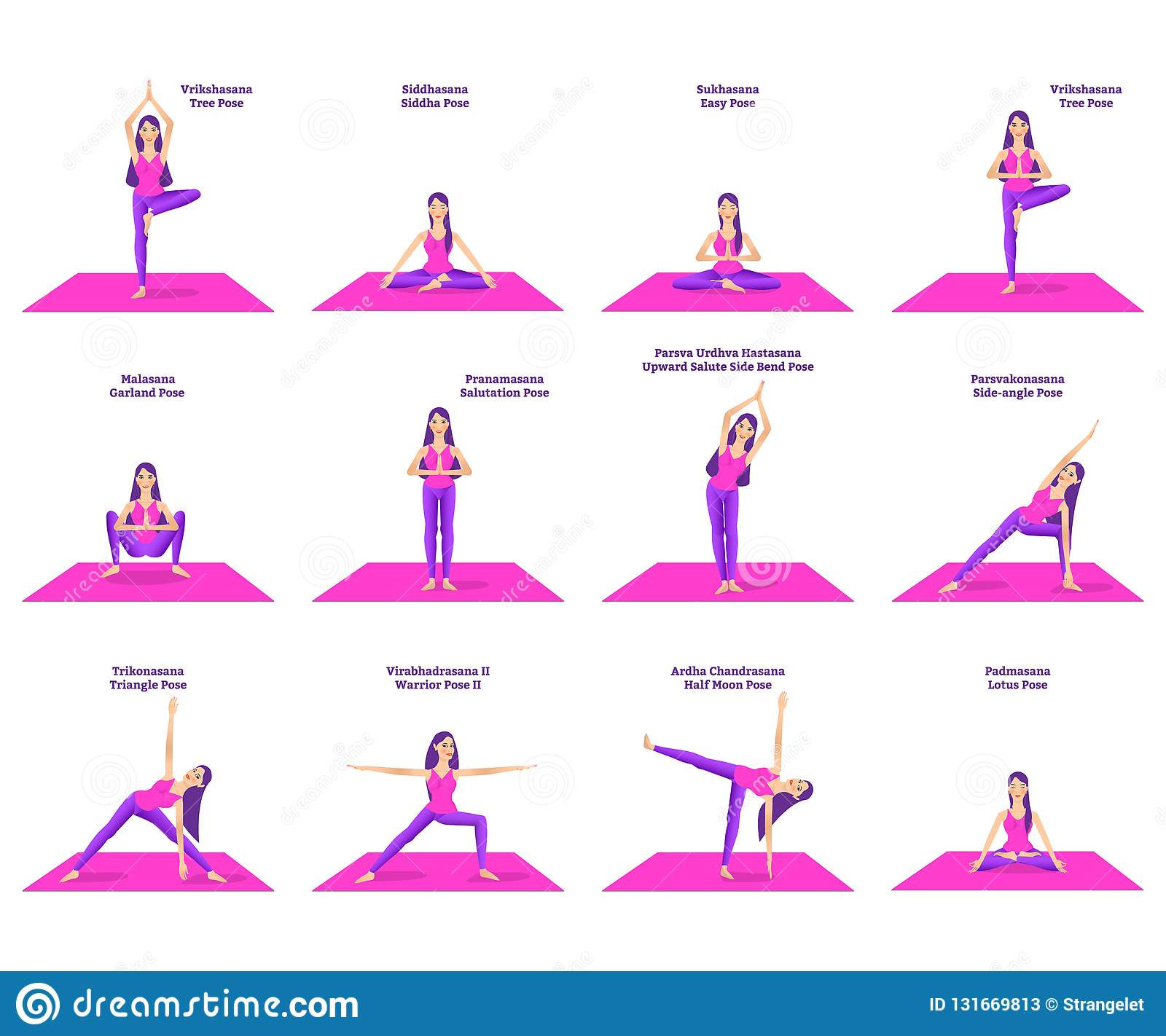 Set Of Woman Doing Different Yoga Poses Stock Vector ...