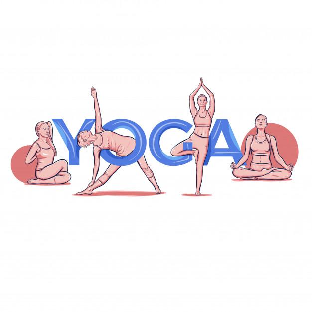 Yoga schriftzug typografie pose asana   Kostenlose Vektor